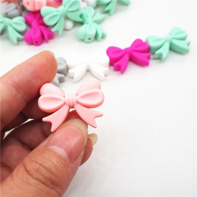 Chenkai 10pcs BPA Free Silicone Bow Tie Teether Beads DIY Baby Shower Teething Montessori Sensory Toy Bow-Knot Accessories