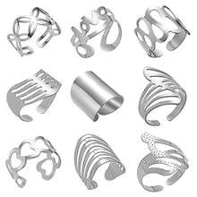 Fashion Adjustable Open Rings Striped Flower Heart Shaped Geometric Ring Stainless Steel Women Men Punk Knuckle