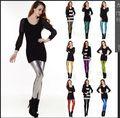 Горячая продажа 2015 женщины моды искусственная кожа красочные Леггинсы женские высокие эластичные леггинсы брюки девушки штаны для похудения