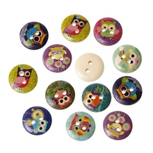 100Pcs Multicolor Owl Patterns Round 2 Holes Buttons Wood Wooden Sewing Scrapbook Findings 15mm