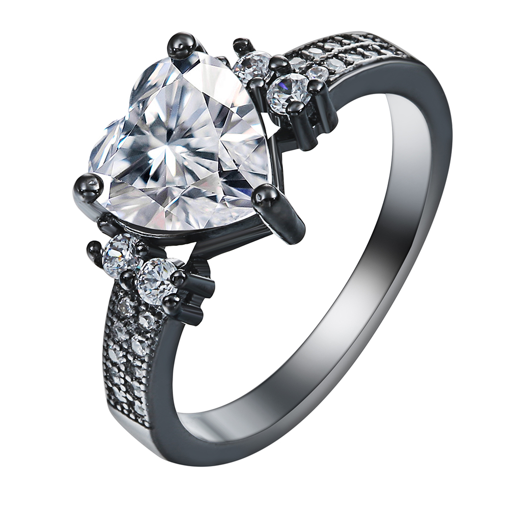 White Red Green Blue Love Jewelry Vintage Black Gun Promise Rings Lover  Romantic Czech Zircon Heart Engagement Ring For Women