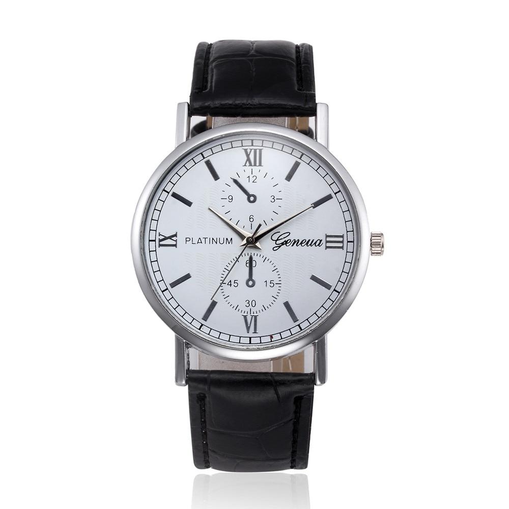 Женева Relogio Masculino Кварцевые Часы Мужчины 2017 Роскошные Кожаные Мужские Бизнес-Часы Моды Случайные Спортивные Часы Мужчины Наручные Часы