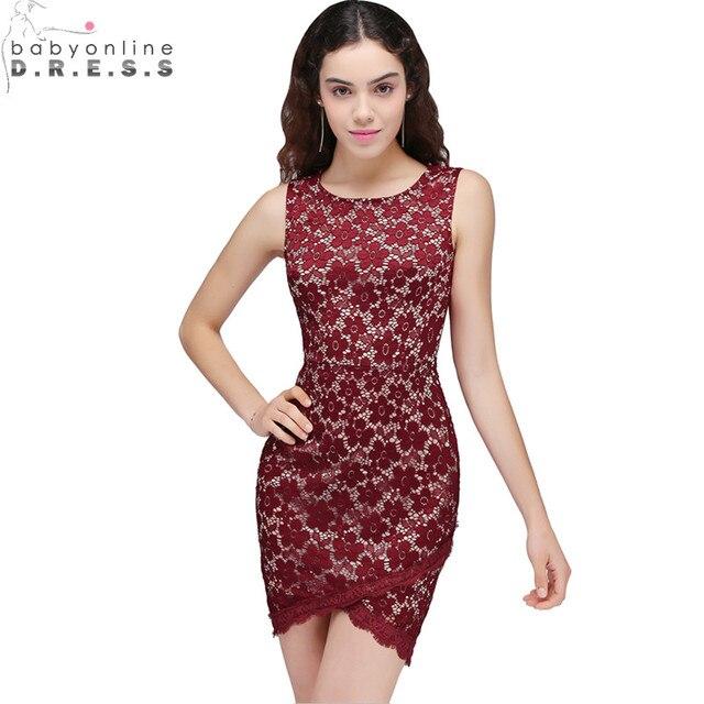 0529726ba0be4 Vestido de Festa Curto Burgundy Lace Appliques Short Prom Dresses 2018  Cheap Sleeveless Short Party Dresses Vestido de Formatura
