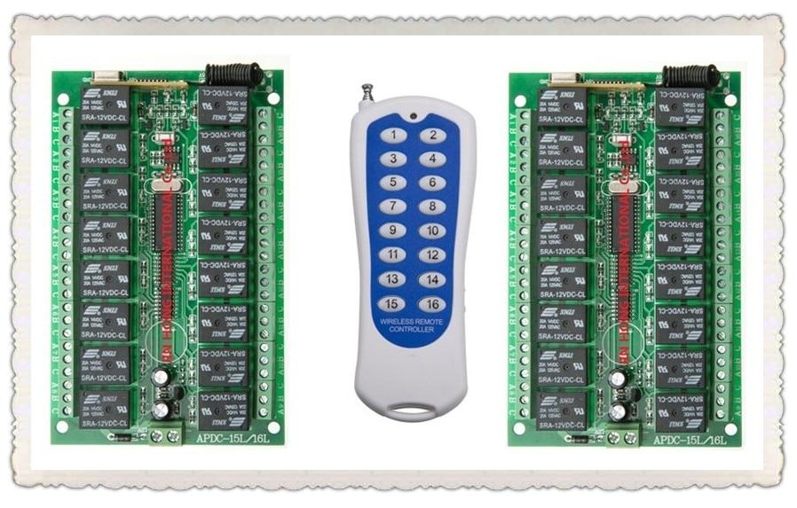 купить 1000M Long Range DC12V 16CH Radio Controller RF Wireless Remote Control Switch System,315/433 Mhz,2*Transmitter + 1*Receiver по цене 2549.8 рублей