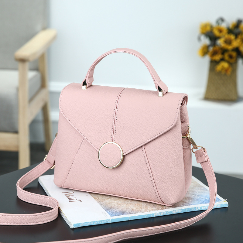 New Women Shoulder Crossbody Bags Pink Totes Ring Envelope PU Leather Handbags Designer Brand Female Simple Square Messenger Bag