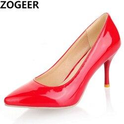 Zapatos de tacón alto para mujer, calzado de tacón fino, Sexy, para graduación, oficina, boda, talla grande 45, 47, color blanco, rojo, Nude, Rosa
