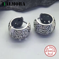 BALMORA 100 Real 925 Sterling Silver Clip Earrings For Women Mother Retro Elegant Jewelry Accessories Gift