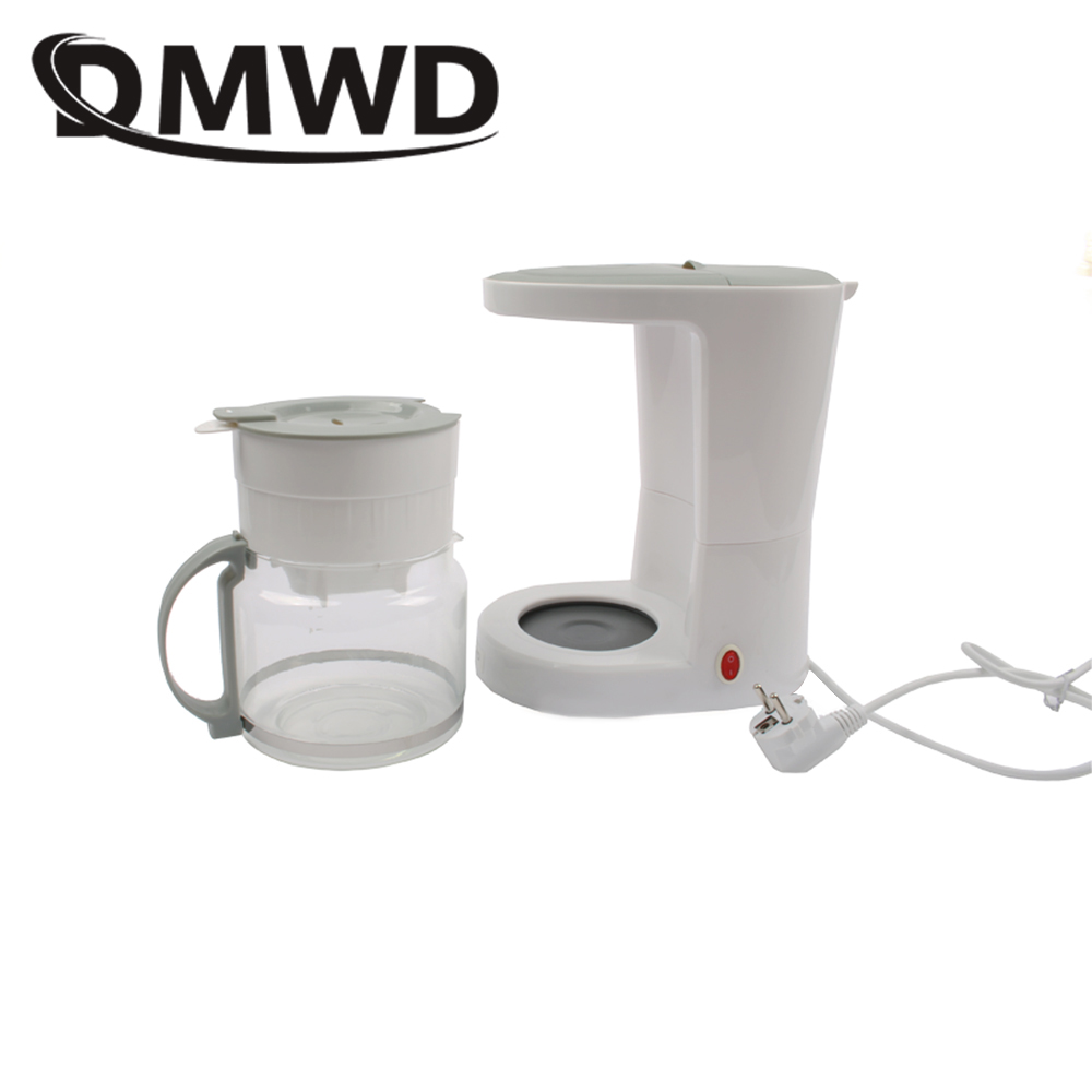 DMWD Cafe American Electric Drip Coffee Maker Teapot Mini Household Heating Tea Espresso Coffee Boiler Machine Glass Pot EU plug недорого