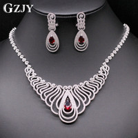 GZJY Top Quality White Gold Color Red Blue Multi Shape African CZ Stones Big Wedding Bridal Costume Jewelry Sets For Women Party