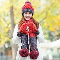Marka czapka szalik rękawiczki trzy kawałki ustawić jeden kawałek kolor bloku dekoracji tłumika szalik dziewczyny zima przędzy urodziny prezent na boże narodzenie