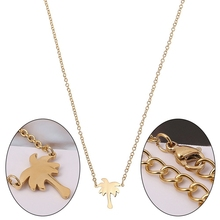 5f496b3a6c4 Cute Coconut Tree Tag Clavicle Chain Necklace Choker Gold Palm Tree  Necklace Pendant Jewelry(China