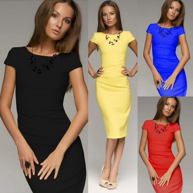 Slinky Sheath Cap Sleeve Business Office Work Dress Formal Midi ...