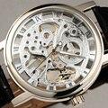 Vencedor Skeleton Ouro Mecânica Relógios Homens Marca de Luxo Clássico Transparente Oco Dial Pulseira de Couro Preto relógio de Pulso do Negócio