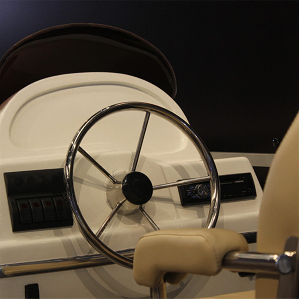 купить Polished Stainless Steel Marine Boat Steering Wheel 5 Spoke Yacht Accessories Steering Wheel 15.5 Inches With Black Cap по цене 3699.06 рублей