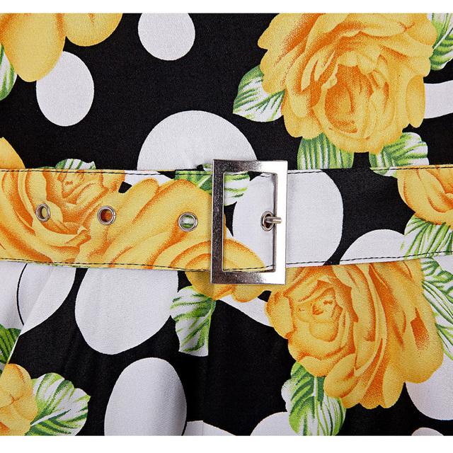 Belle Poque Print Floral 50s 60s Vintage Dresses Audrey Hepburn 2017 New style Summer Retro Dress Vestidos robe Womens Clothing