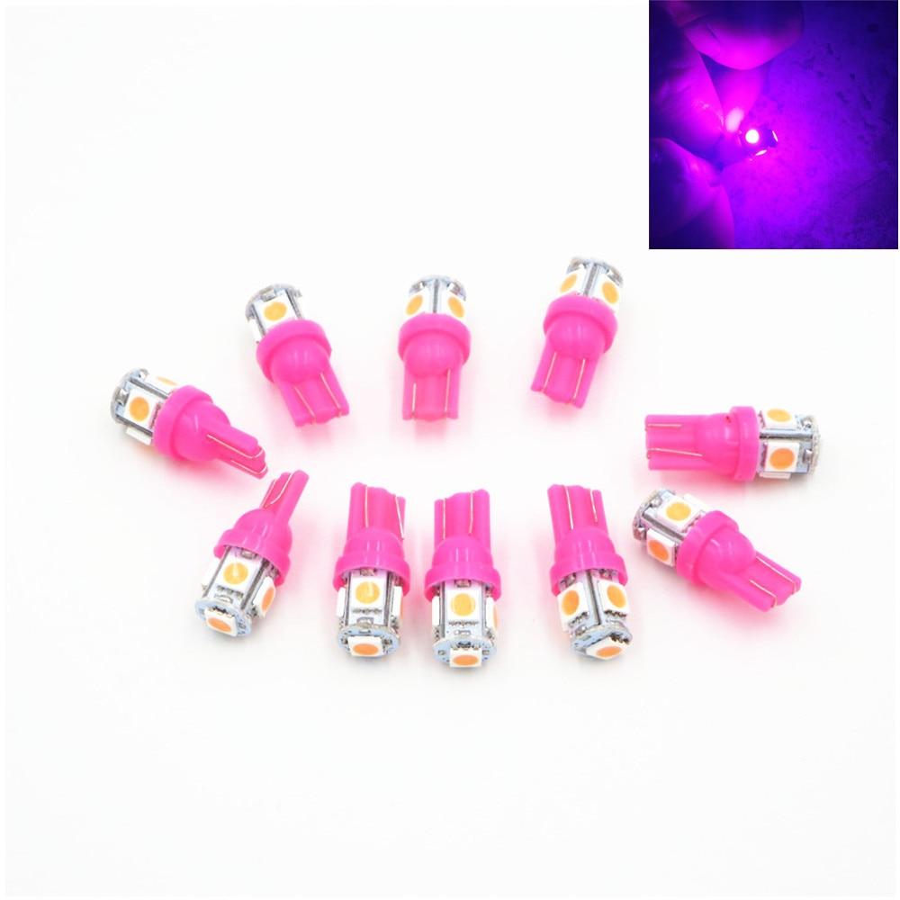 Lâmpada de cunha de led 10x t10, 5050 smd 5, rosa, roxa, w5w dc 12v 24v, licença dome mapa de luz w5w 158 192 194 168