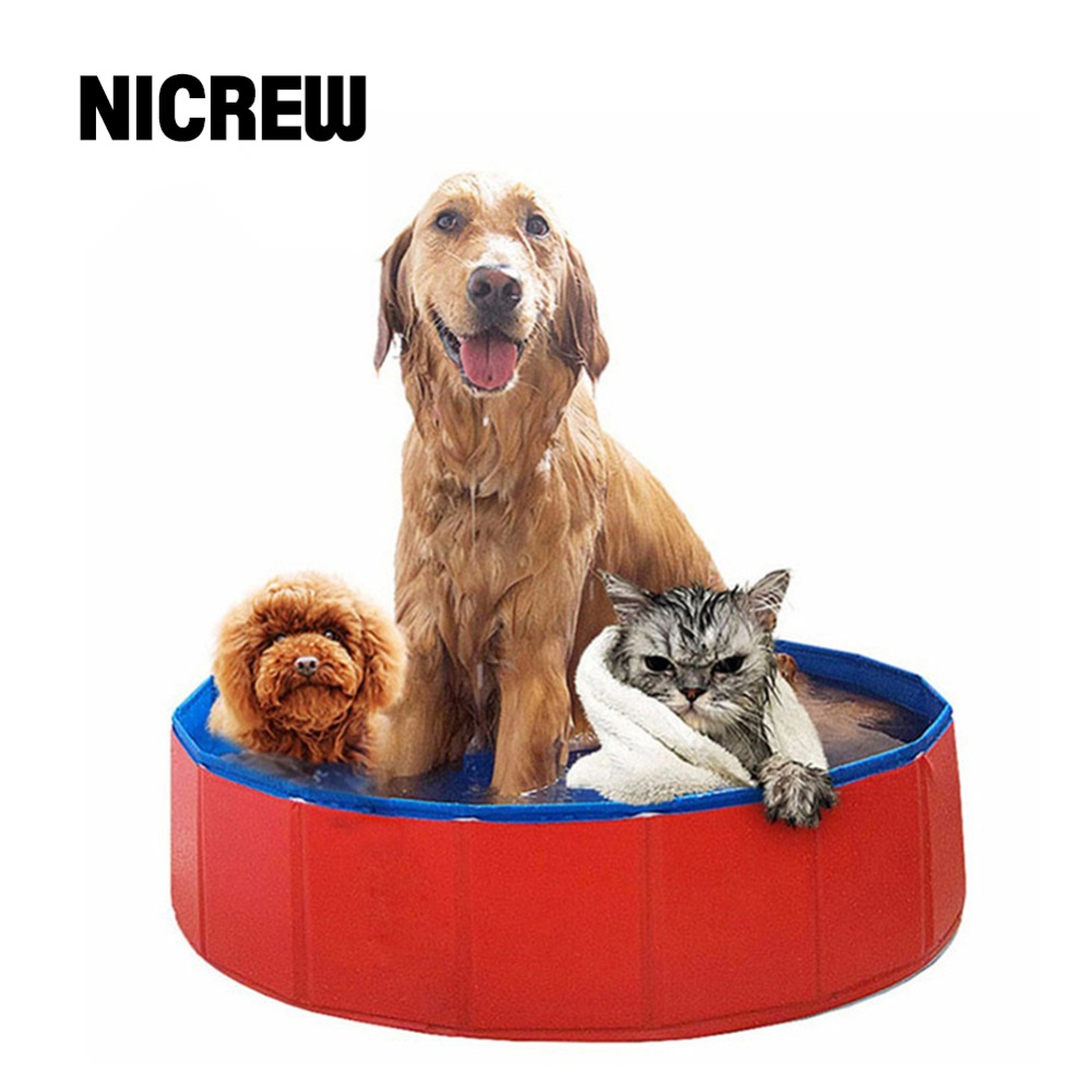 Nicrew Waterproof Foldable Pet Dog Swimming House Bed Summer Pool Large PVC Bathtub for Dog and Cat Teddy Bathing Washing Pound