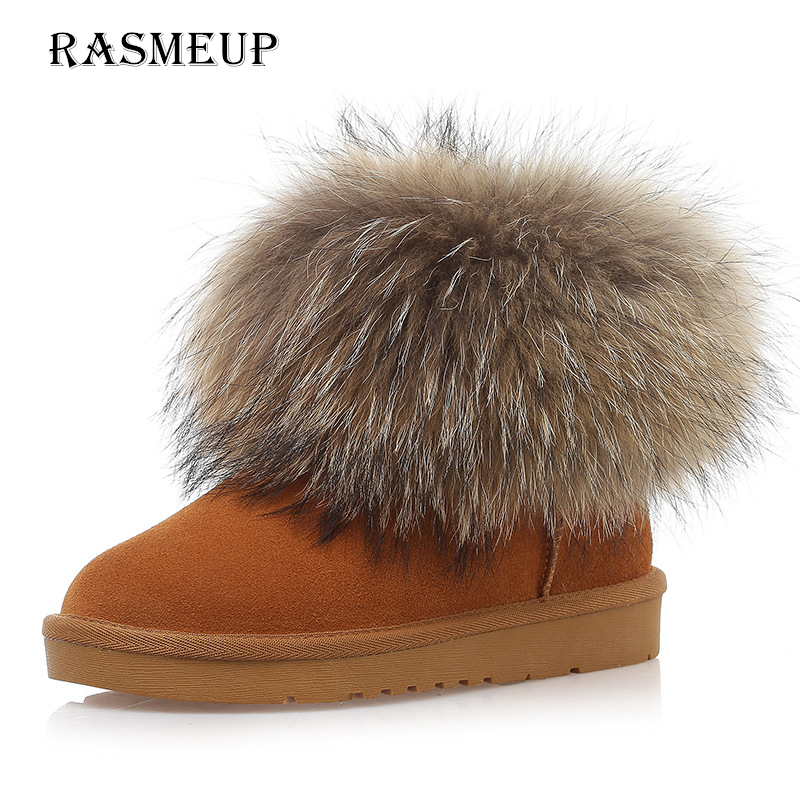 RASMEUP Big Fox Fur Fur Women's Snow Boots Genuine Leather Winter Warm Women Short Ankle Boots Woman Non-slip Shoes black brown цены онлайн