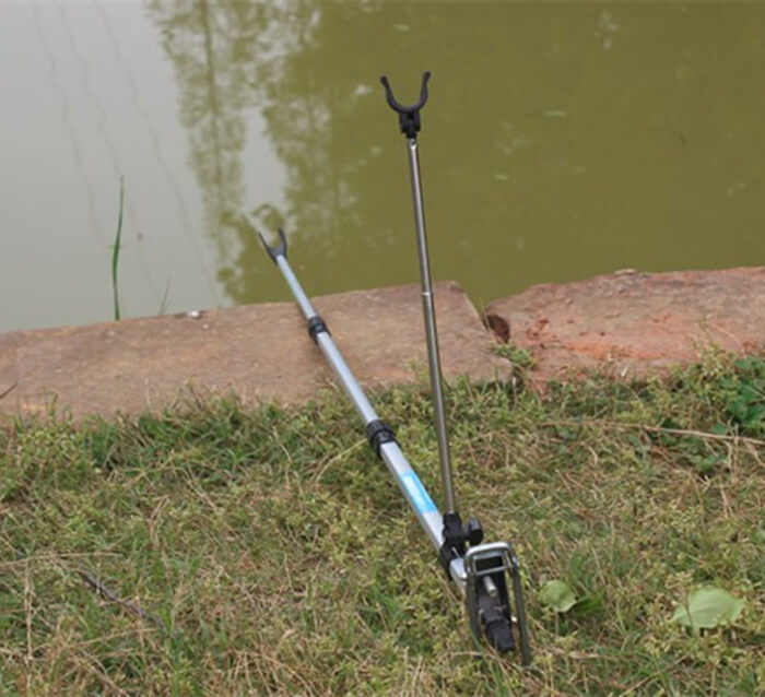 1.5m/1.7m/2.1m Fishing Rod Rest Holder Bracket Rod Mount Rack Pole Stand Al Alloy Holder Length Adjust Lake Beach River Pond