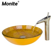 Monite Artist Tempered Glass Bathroom Designer Vessel Sink Basin Bowl With the Nickel Brushed Faucet And Pop Up Drain Sink Set(China)