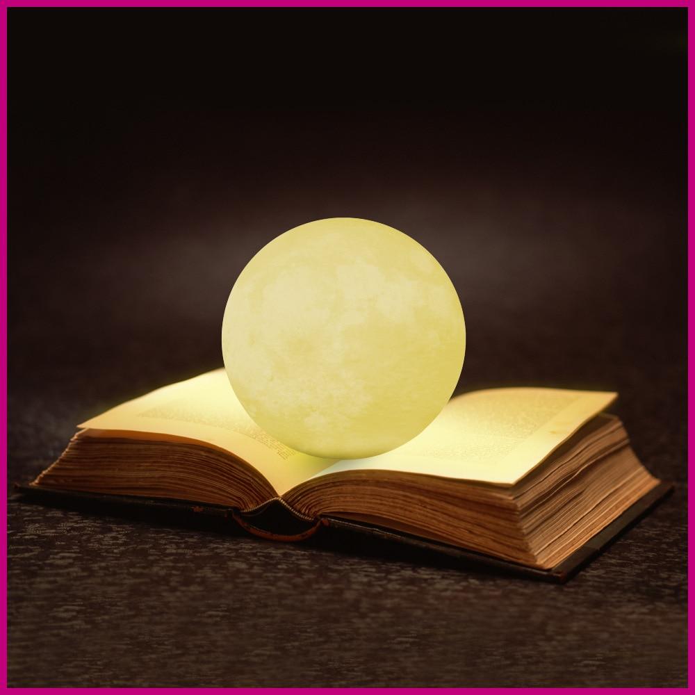 Лунный свет, светящиеся Moon миру свет, 3D светящиеся Луна лампы с подставкой, luna луна лампа с 3 цвета (Холодный/теплый белый и желтый) ...