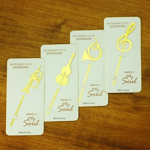 Kawaii Cute Gold Musical Instruments Metal Book Markers Bookmark For Books Paper Clips Office School Supplies Stationery