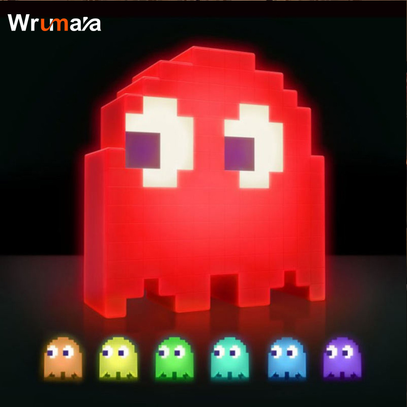 Wrumava Creative Cartoon USB Pac-man Game Theme Color Night Light LED Ghost Lamp Bedroom Children's room Decoration Lighting