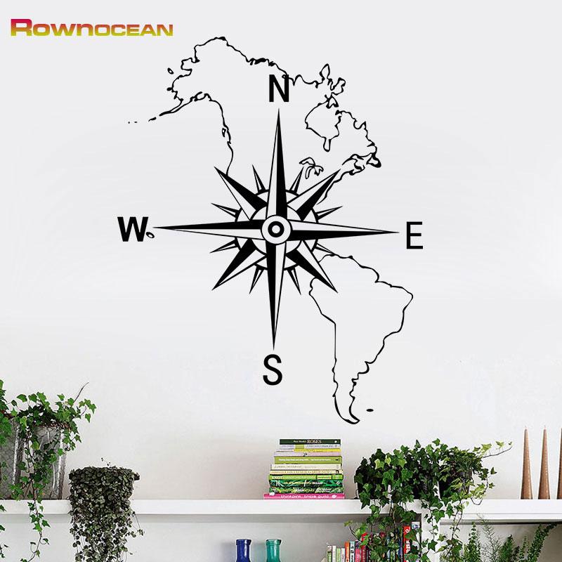 Mapa mundi compass nautical home decor decor art wall for Stickers infantiles