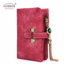 Aosbos fashion short matte ladies wallet vintage tassel zipper and hasp womens wallets and purses Money Bag free shipping 026-2(China)