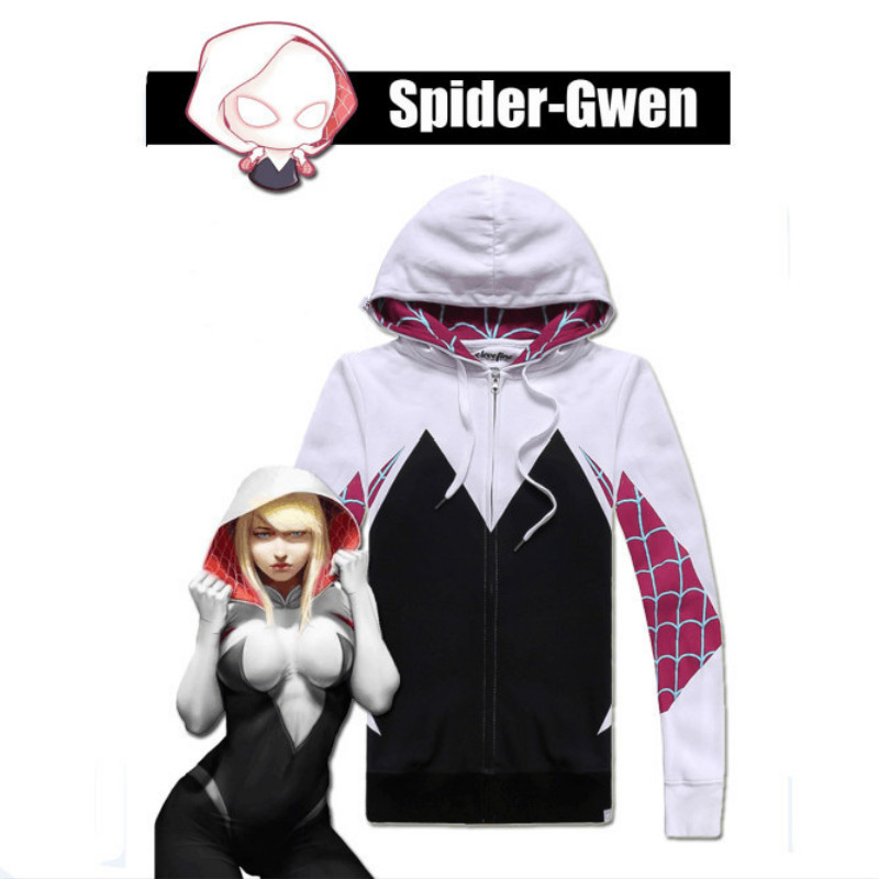 Women Girls Venom Hoodie Cosplay Spider Gwen Stacy Costume 3D Spiderman Superhero Zipper Jacket Hooded Sweatshirt Coat