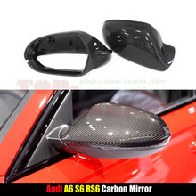 for Audi A6 S6 2012 2013 2014 2015 2016 Carbon Fiber Mirror Covers Rear View Without Lane Change Assist 1:1 Replacement