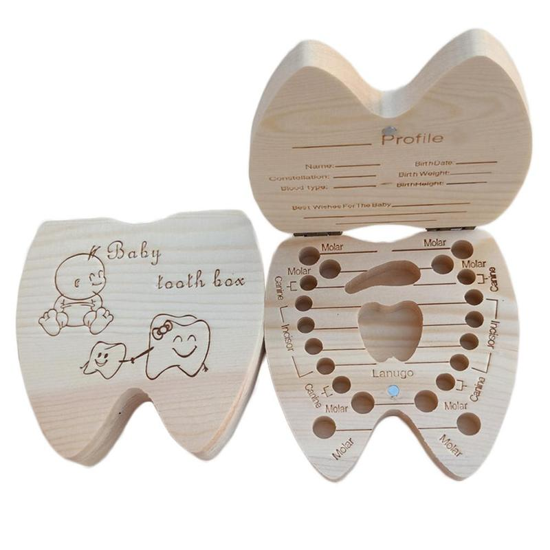 Baby Tooth Box English Wooden Milk Teeth Organizer Storage Boys Girls Baby Birthday Souvenirs Gift