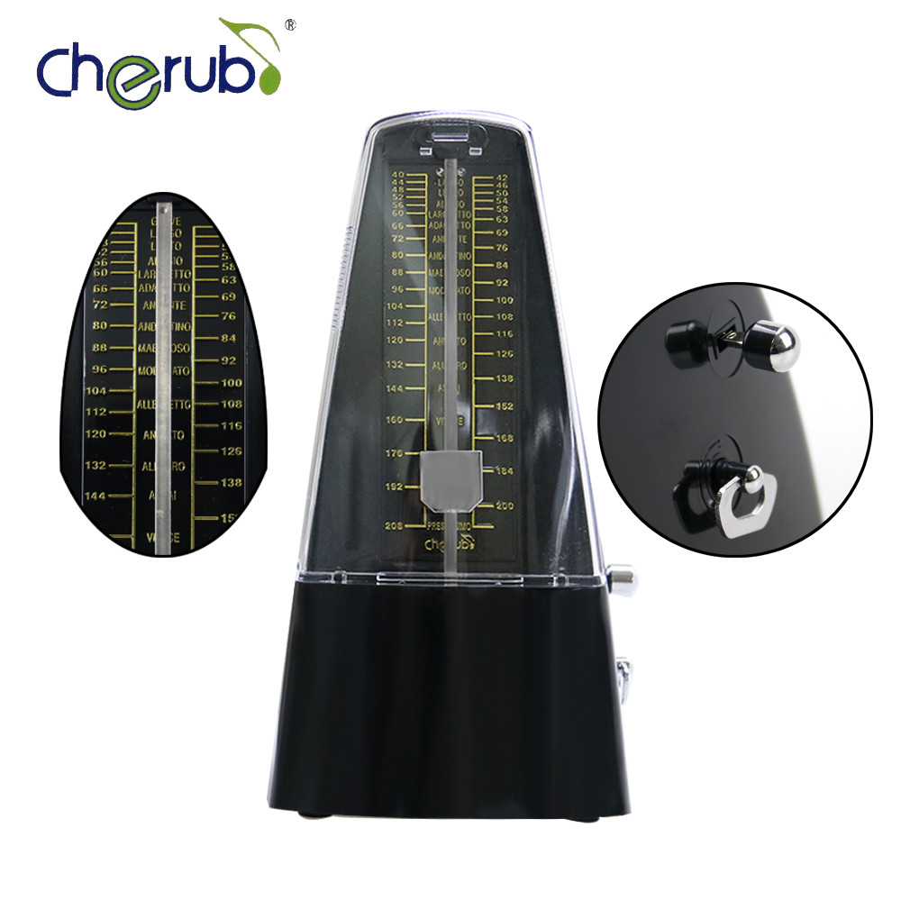 купить Cherub WSM-330 Black Color High Accuracy Winding Mechanism Metronome Universal For Guitar Bass Piano Violin недорого