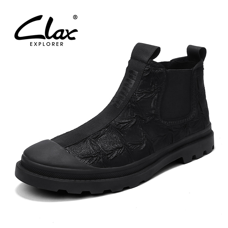 CLAX Mens Chelsea Boots 2019 Spring Autumn Canvas Shoes Male Casual Boot Fashion Walking Footwear Plush