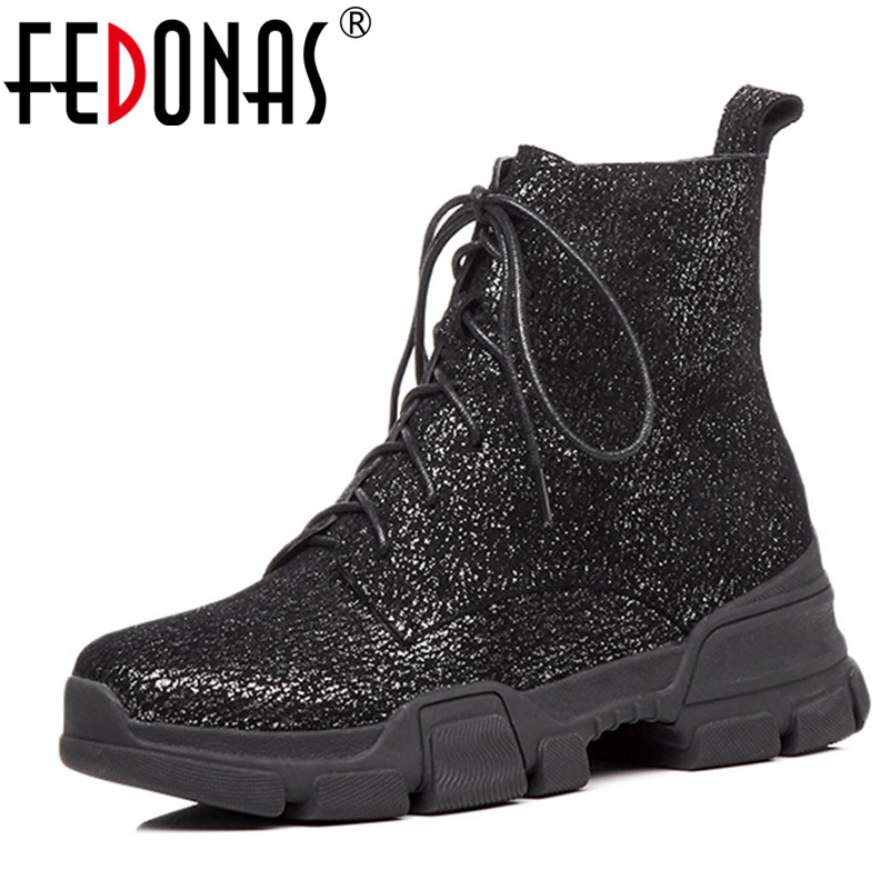 FEDONAS Womens Fashion High Heel Lace Up Ankle Motorcycle Boots Ladies Buckle Platform Shoes Woman Autumn Winter Martin Boots mcckle women s lace up rivets buckle ankle martin boots ladies fashion thick heel platform high quality leather autumn shoes
