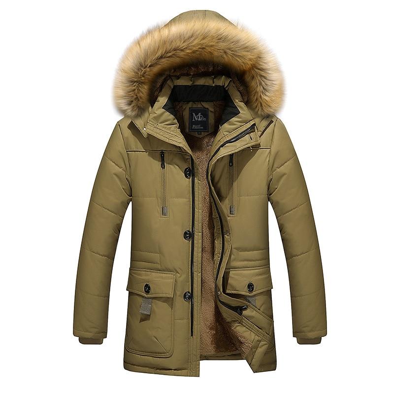 2017 High-quality men's thick warm winter fur collar army green men parka long cotton jacket parka men plus size 5X