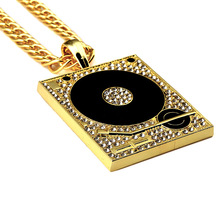Great Stainless Steel turntable necklace pendant (silver & gold)