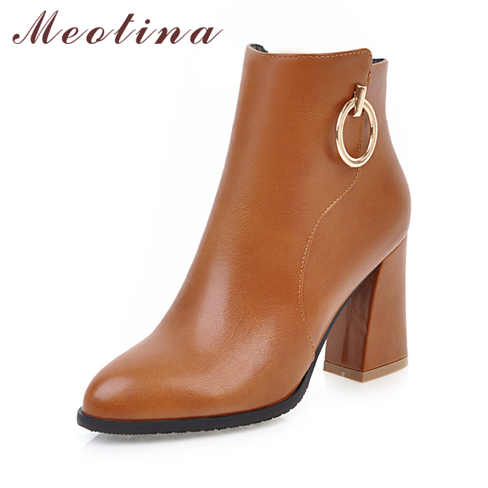 Meotina Women Velvet Boots Thick High Heels Winter Boots Lady Ankle Boots 2017 Autumn Women Fashion Shoes Large Size 34-45 Brown 2017 autumn and winter new plus velvet thick women s boots soft bottom comfortable breathable mother shoes wild leather