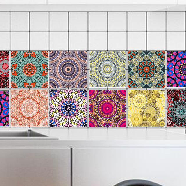 10pcs Set Pvc Wall Sticker Arabian Retro Bathroom Waterproof Self Adhesive Wallpaper Floor Mosaic Tile Stickers For Decal In From Home