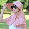 NUEVA MODA Sombrero Protector Solar Cara Cubierta Plegable Viajes Verano Femenino Plegable Del Sombrero Del Sol de Las Mujeres de Ocio Al Aire Libre de Protección UV