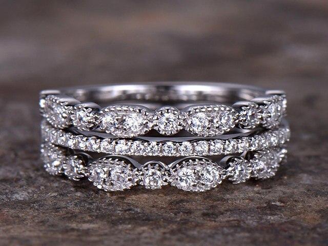 3pcs wedding ring set 925 sterling silver Half eternity wedding band