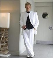 卸売ホワイトメンズスーツ用ウェディングスタンド襟新郎タキシードスリム花婿の付添人スーツ(ジャケット+ベスト+パンツ)