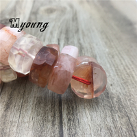 Faceted Natural Blood Crystal Nugget wheel Space Beads,Red Quartz Loose Beads For DIY Jewelry MY2043