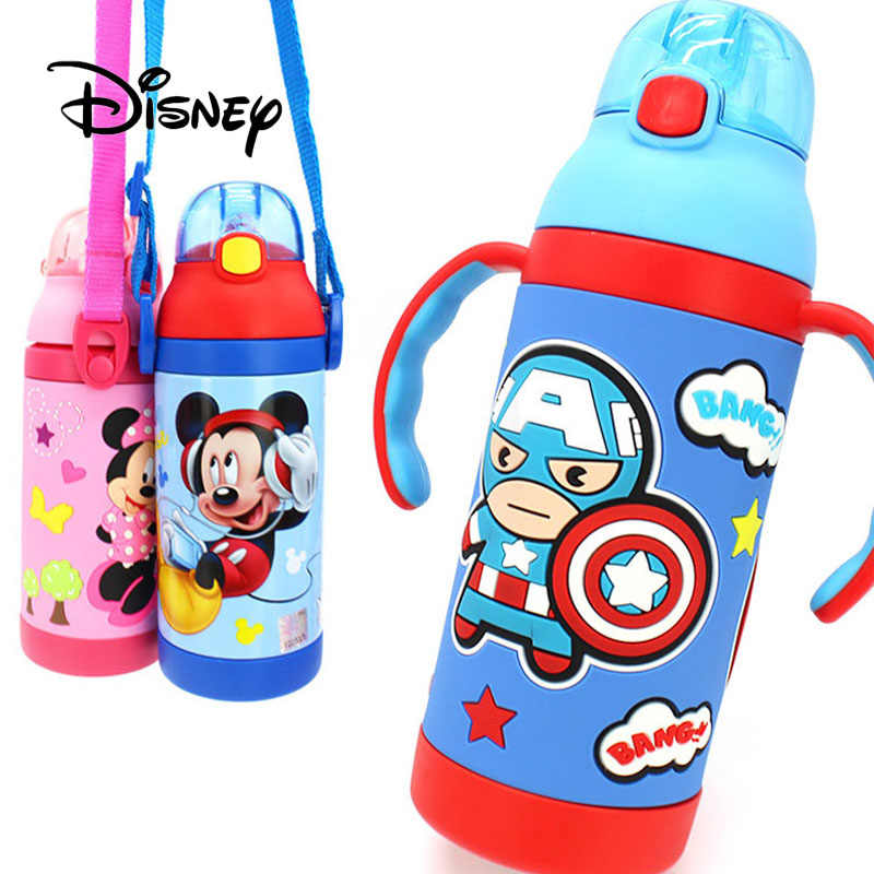 Disney Marvel детская изоляционная чашка Минни Микки Маус София детская соломинка для коктейлей чашка с ручкой для воды подарки на день рождения для девочек и мальчиков