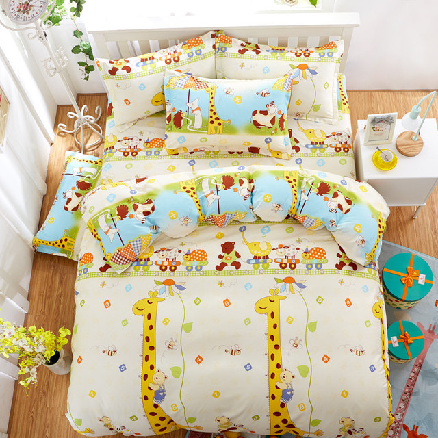 enfants comme coton de dessin anim girafe imprim ensembles de literie super king size drap. Black Bedroom Furniture Sets. Home Design Ideas