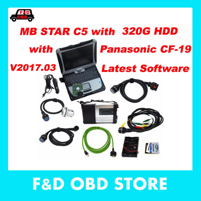 Newest MB Star C5 SD Conenct c5 with laptop cf19 Toughbook diagnostic PC with mb star c5 newest software V2017.03 hdd for sd c5