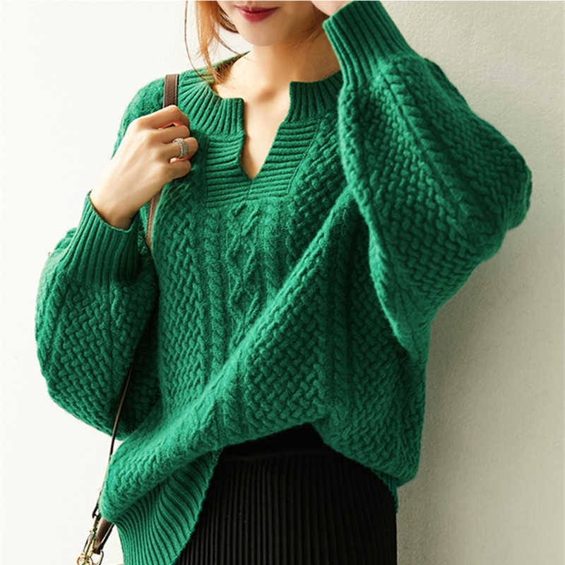 Women Sweater 2019 New Spring Fashion Casual Solid V-Neck Sweater Warm Vintage Loose Long Sleeve Knitted Pullover Sweaters