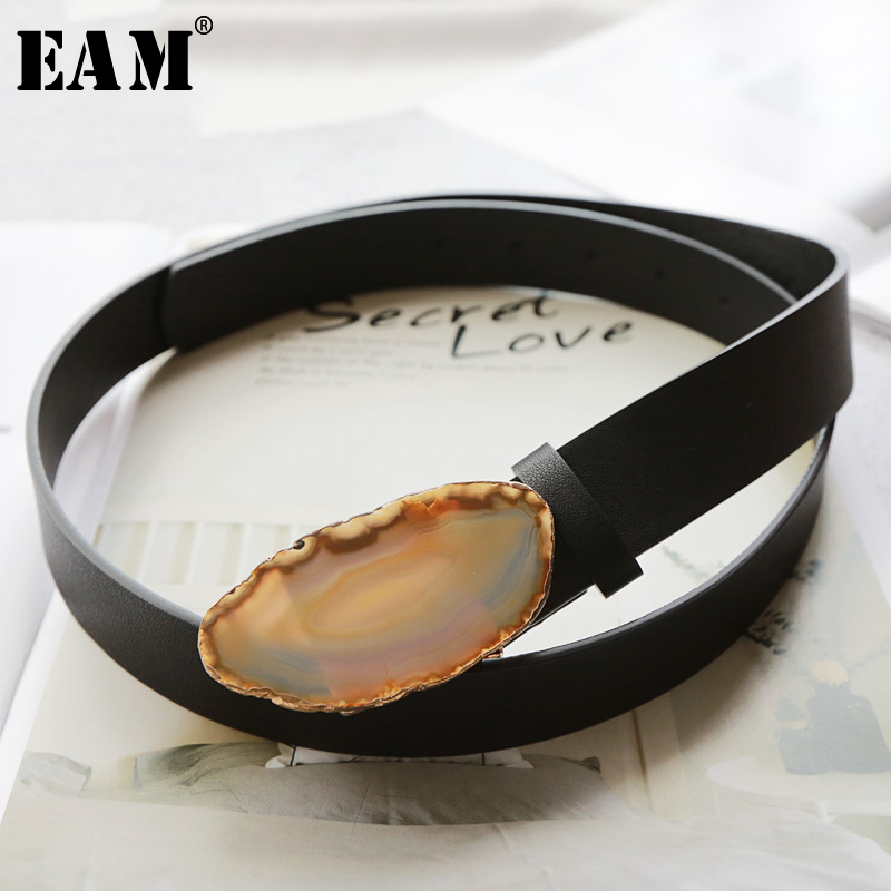 [EAM] 2019 New Spring Summer Pu Leather Personality Natural Split Joint Women Long Wide Belt Fashion Tide All-match JX457