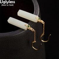 Uglyless Simple Geometric Earrings for Women Luxury Natural White Jade Fine Jewelry Gemstones Cuboid Earrings Solid 925 Silver
