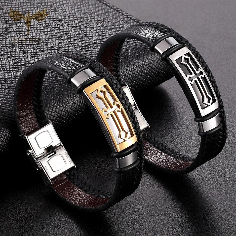 Jesus Christian Cross Jewelry for Men Women Leather Cuff Bracelet Multi Layer Bracelets Stainless Steel Accessories Woman Man